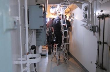 大型船の船内を使用した撮影